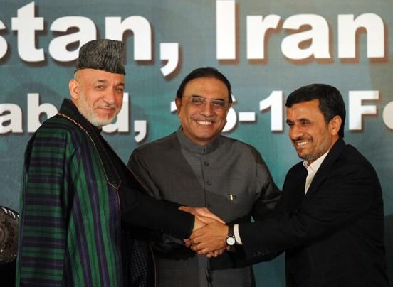Ouch – Hamid Karzai, Afghanistan's leader, Pakistani president, Asif Ali Zardari and Iran's president, Mahmoud Ahmadinejad…