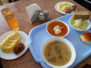 typical meal in Russia at a cafe