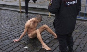 Pyotr Pavlensky in Red Square, Moscow