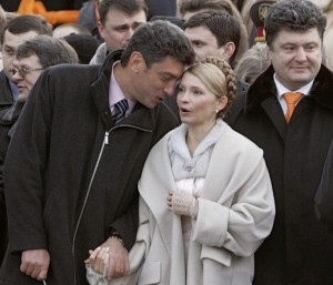 Nemtsov Who? But that is Yulia and Poroshenko with him...