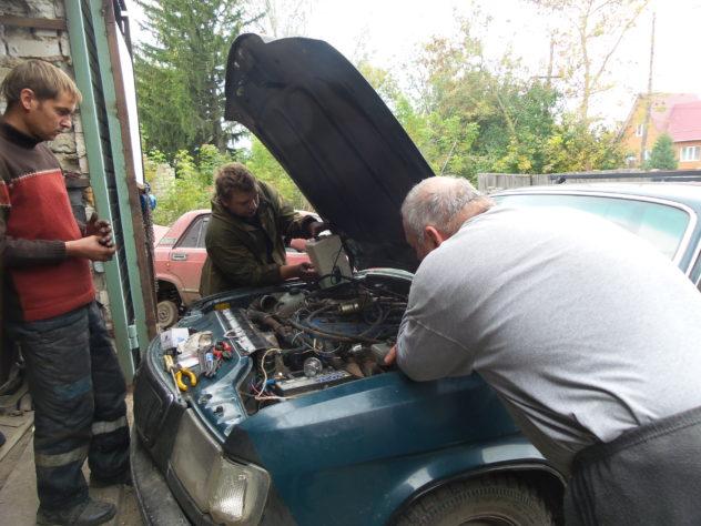 Finishing car's new engine...