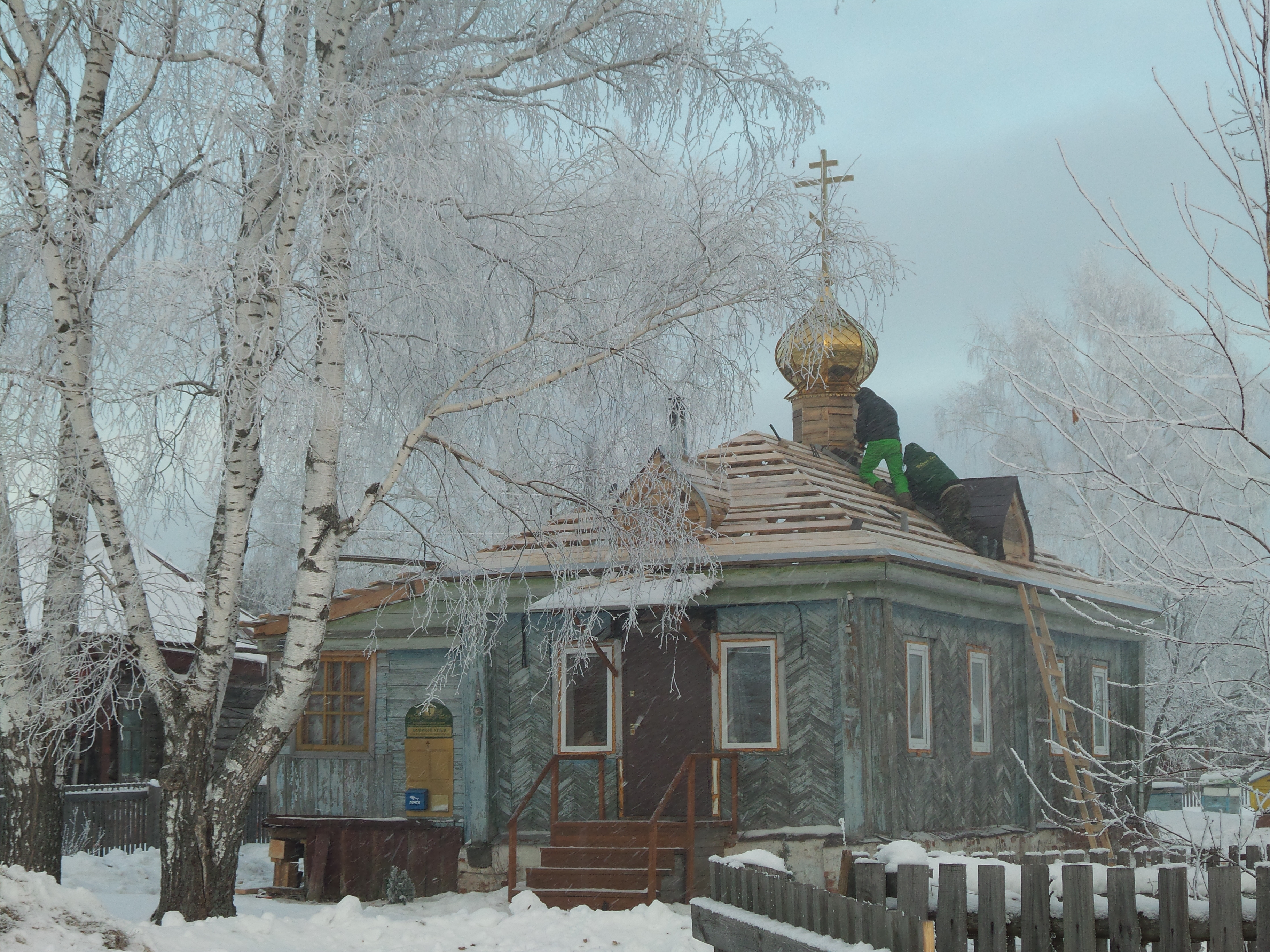 Church Cross installed at Tiny Russian Village…